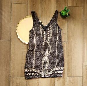 Free People printed beaded mini dress sheath xs